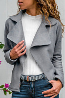 Casual Turndown Collar Long Sleeve Pure Colour Jacket