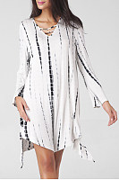 V Neck Cutout Printed Oversized Casual Dress