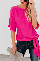 Round Neck  Plain  Batwing Sleeve T-Shirts