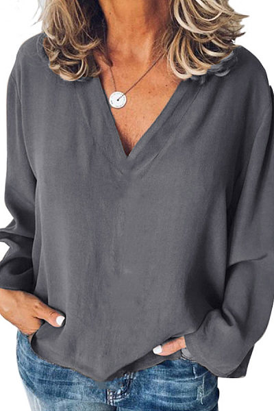 Casual V-Neck Solid Color Long-Sleeved Loose Shirt