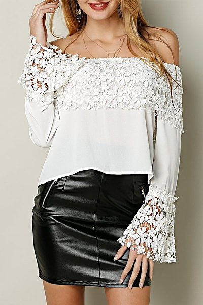 Off Shoulder  Hollow Out Plain  Bell Sleeve Blouses
