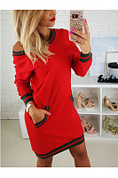 Scoop Neck  Patch Pocket  Contrast Stitching  Stripes  Long Sleeve Bodycon Dresses