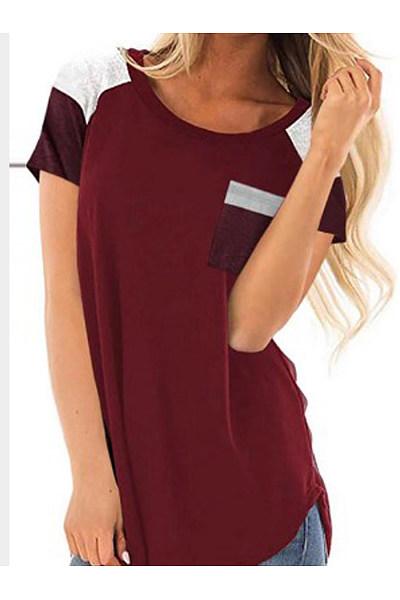 Spring Summer  Cotton  Women  Round Neck  Color Block Short Sleeve T-Shirts