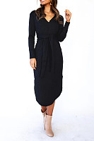Fashion V Neck Pure Colour Long Sleeve Lace Up Dress