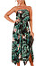 Strapless  Asymmetric Hem  Printed  Sleeveless Maxi Dresses