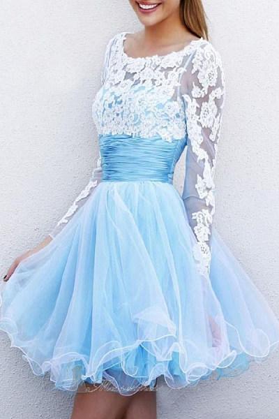Round Neck  Plain  Long Sleeve Party Dresses
