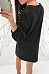 Round Neck  Beading  Plain  Long Sleeve Casual Dresses