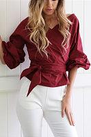 Bishop Sleeve Belt Plain Shirt