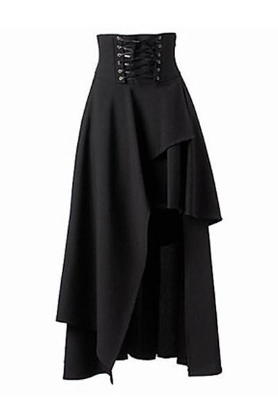 Asymmetric Hem Lace-Up Plain Flared Maxi Skirt