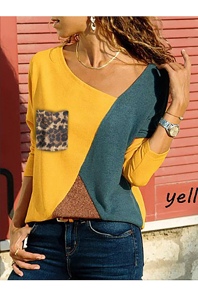 Asymmetric Neck  Patch Pocket  Color Block Leopard Long Sleeve T-Shirts