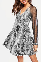 V Neck  See Through  Animal Printed  Long Sleeve  Basic Skater Dresses