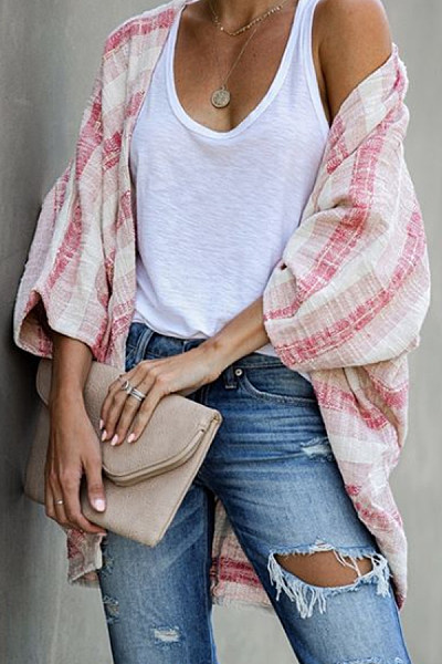 Casual Colorblock Striped Long Sleeve Loose Cardigan