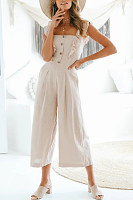 Square Neck  Backless  Decorative Buttons  Plain  Sleeveless Jumpsuits