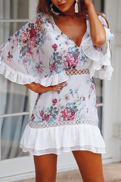 Deep V Neck  Cutout  Floral Printed  Bell Sleeve  Half Sleeve Skater Dresses