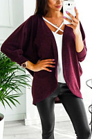 Asymmetric Neck  Snap Front  Plain Cardigans