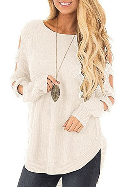 Crew Neck  Asymmetric Hem  Crochet  Plain Sweaters
