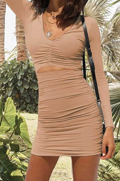 Long-Sleeved V-Neck Sexy Slim Bodycon Dress