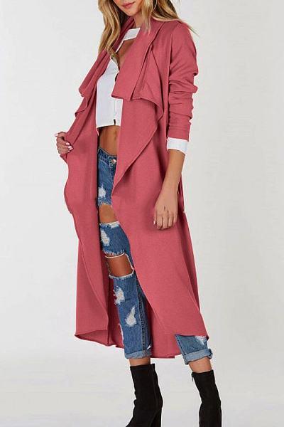 Lapel Plain Trench coat