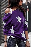 Open Shoulder Stars Printed T-Shirts