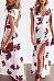 Deep V Neck  Backless High Slit  Floral Printed  Short Sleeve Maxi Dresses