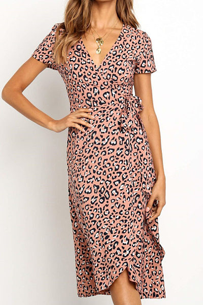 Deep V Neck  Asymmetric Hem  Leopard  Short Sleeve Maxi Dresses