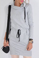 Hooded  Drawstring  Patchwork Bodycon Dresses
