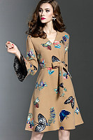 V Neck Bell Sleeve Patchwork Print Skater Dress