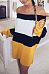 Off Shoulder  Color Block Striped  Long Sleeve Casual Dresses