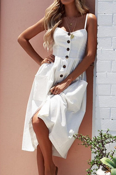 Spaghetti Strap  Single Breasted  Plain  Sleeveless Maxi Dresses
