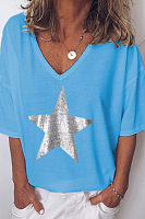 V-Neck Star Printed Short-Sleeved T-Shirt
