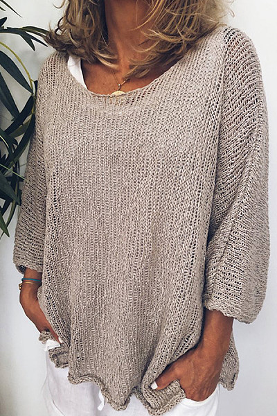 Casual Round Neck Long Sleeve Pure Colour Loose Sweater