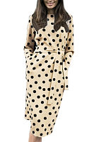 Round Neck  Belt  Dot  Half Sleeve Maxi Dresses