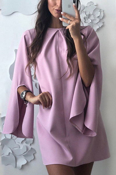 Casual Round Collar Pure Color Split Sleeve Dress
