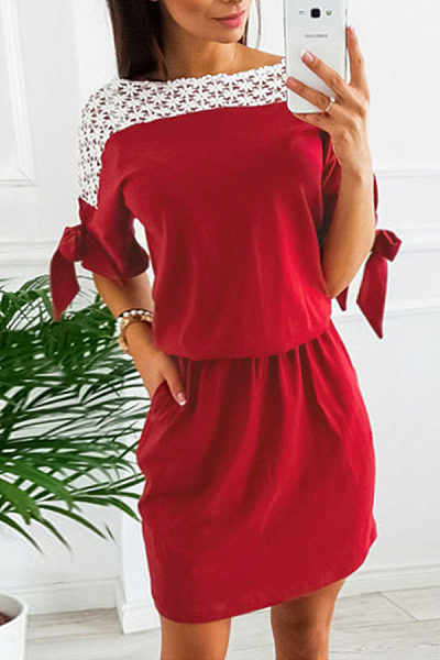 Round Neck  Hollow Out Patchwork  Short Sleeve Casual Dresses
