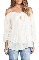 Cold Shoulder Elegant White T-shirt
