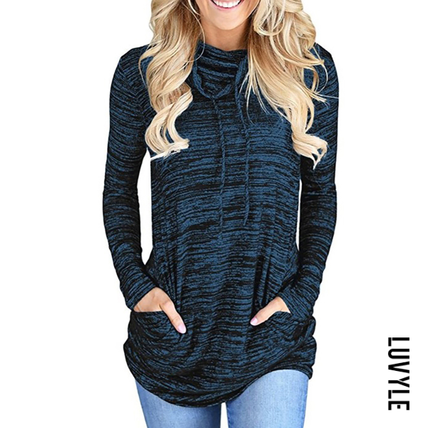 Blue Cowl Neck Cutout Drawstring Lace-Up Patch Pocket Contrast Stitching Color Block Long Sleeve T-Shirts Blue Cowl Neck Cutout Drawstring Lace-Up Patch Pocket Contrast Stitching Color Block Long Sleeve T-Shirts