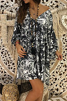 V Neck  Printed  Long Sleeve Casual Dresses