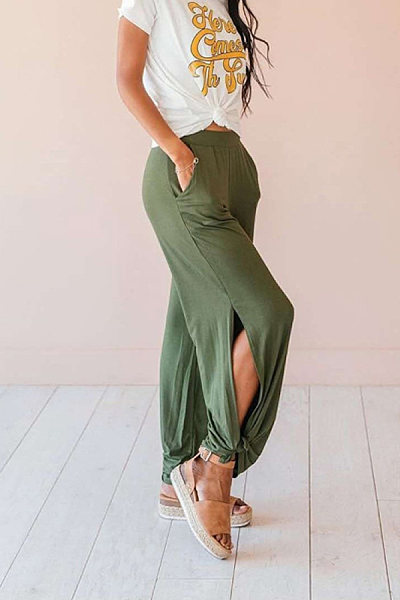 Fashionable solid color side slit casual pants