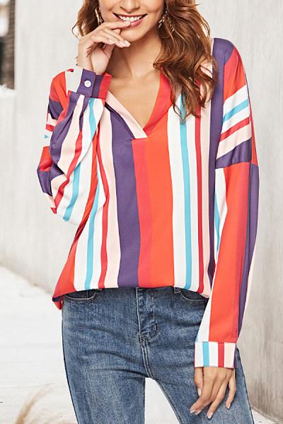 V Neck  Asymmetric Hem  Stripes  Blouses