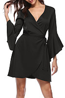 Surplice  Asymmetric Hem  Belt Loops  Plain  Bell Sleeve Casual Dresses
