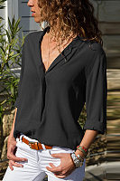 V Neck Roll Up Sleeves Plain Elegant Blouses