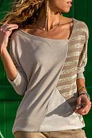 Fashion Irregular Collar Splicing Long Sleeve Top