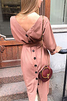 Round Neck  Single Breasted  Belt  Plain  Long Sleeve Maxi Dresses