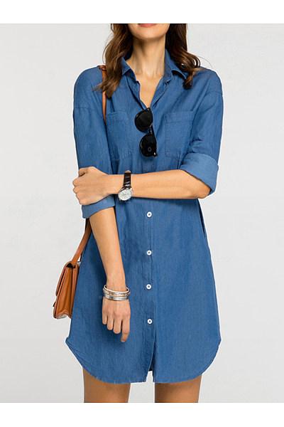 Turn Down Collar  Patch Pocket  Plain  Denim Shift Dress