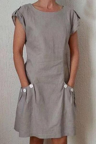 Round Neck Decorative Buttons Patch Pocket Plain Shift Dress