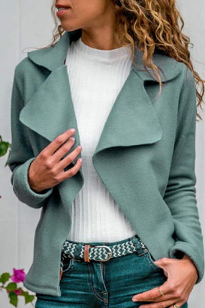 Casual Turndown Collar Long Sleeve Pure Colour Jacket