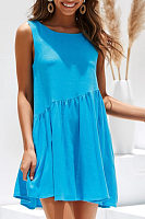 Round Neck  Backless  Plain  Sleeveless Casual Dresses