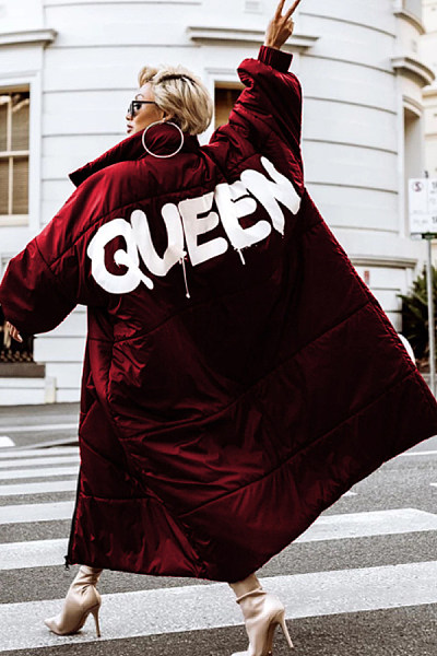 Clothinsstyle Women's Fashion QUEEN Print Long Down Jacket