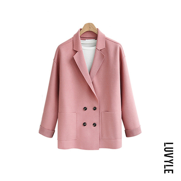 Casual style solid color double-breasted flip collar women's outerwear - from $27.00