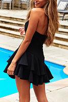 Off-The-Shoulder Halter Ruffled Sexy Mini Dress(Video)